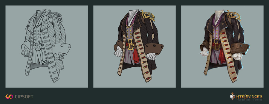 The creation of new assets. Here a chest piece for a pirate.