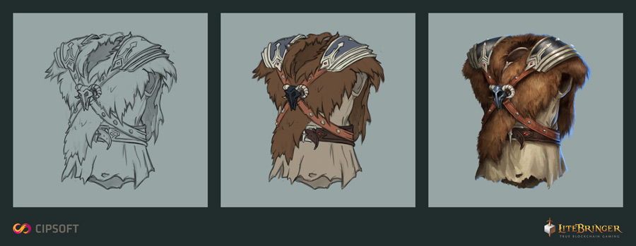 The creation of new assets. Here a harness for a warrior.