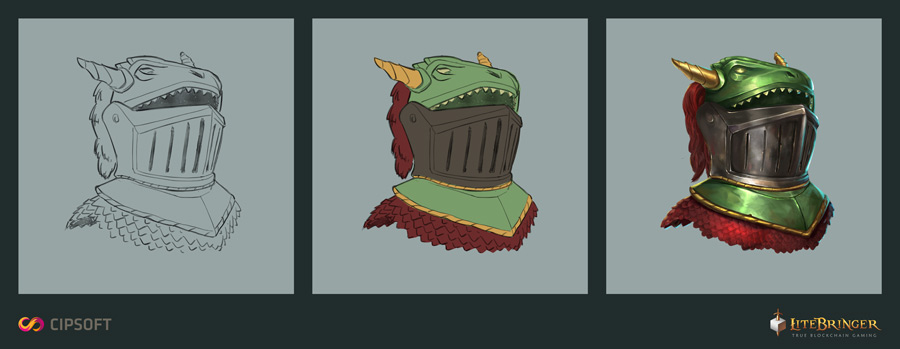 The creation of new assets. Here a helmet for a paladin.